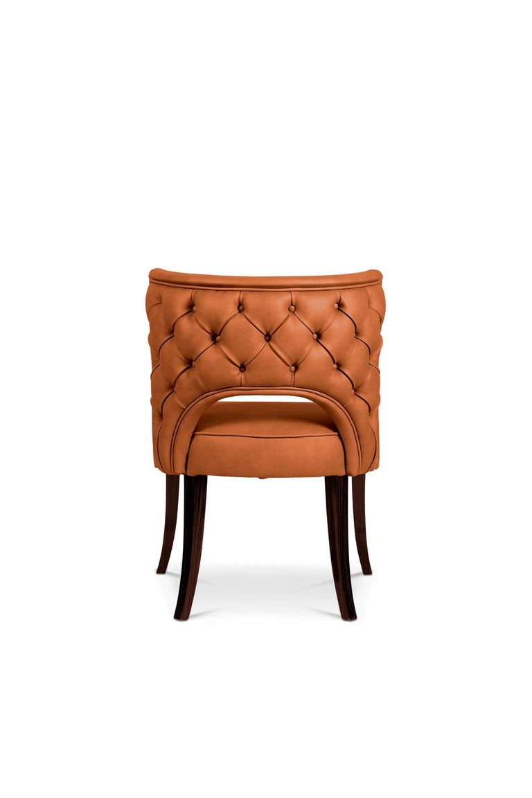 Kansas Dining Chair In Rust Orange Faux Leather For Sale