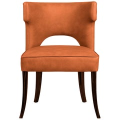 Kansas Dining Chair in Faux Leather With Glossy Varnish Legs