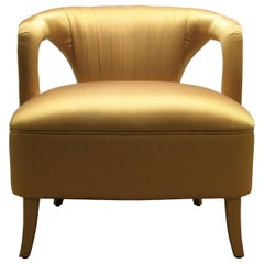 Karoo Armchair in Gold Satin With Fully Upholstered Legs