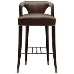 Karoo Counter Stool in Satin with Wood and Brass Detail