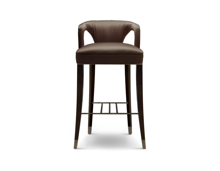 Brabbu Karoo Counter Stool In Brown Satin With Wood And