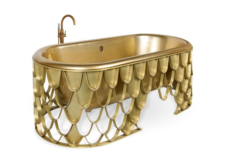 Art Deco Brabbu Koi Bathtub in Brushed Iron and Base Brass For Sale