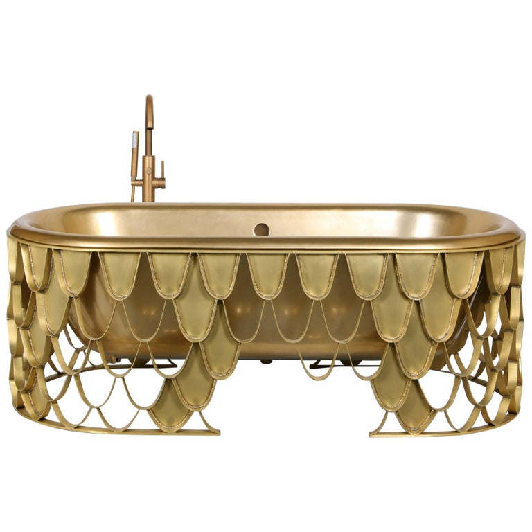 Brabbu Koi Bathtub in Brushed Iron and Base Brass For Sale
