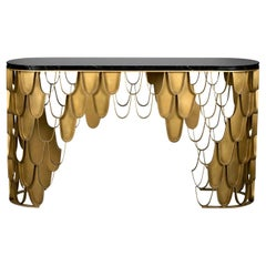 Koi Console Table in Brass with Marble Top