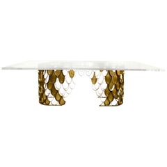 Koi II Dining Table in Brass with Rectangular Acrylic Top
