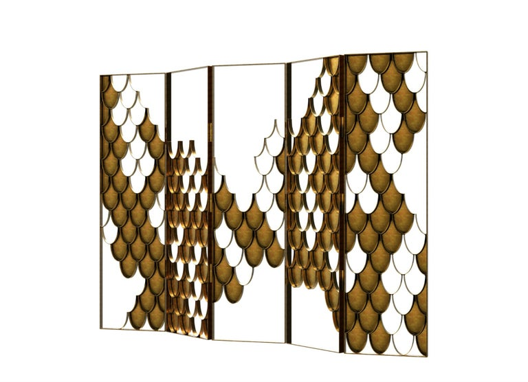 Art Deco Koi II Screen in Brushed Aged Brass with Scale Motif For Sale