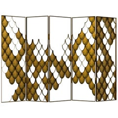 Koi II Screen in Brushed Aged Brass with Scale Motif