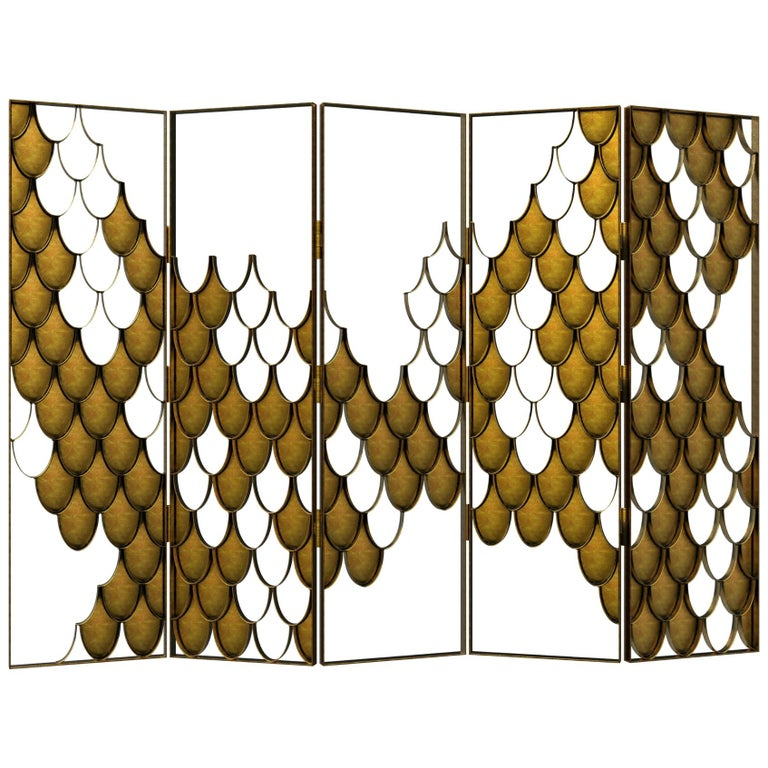 Koi II Screen in Brushed Aged Brass with Scale Motif For Sale