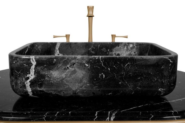 Art Deco Brabbu Koi Single Washbasin in Estremoz Marble Gray with Brass Base For Sale