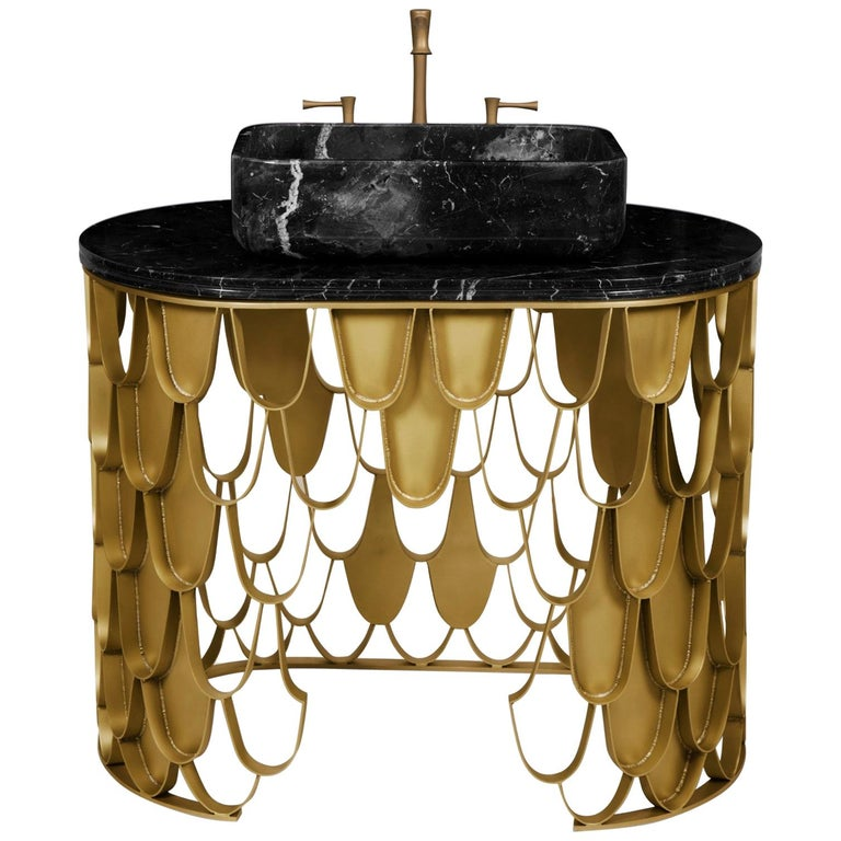 Brabbu Koi Single Washbasin in Estremoz Marble Gray with Brass Base For Sale