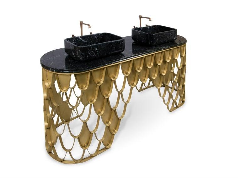 Art Deco Brabbu Koi Washbasin in Estremoz Marble Gray with Brass Base For Sale