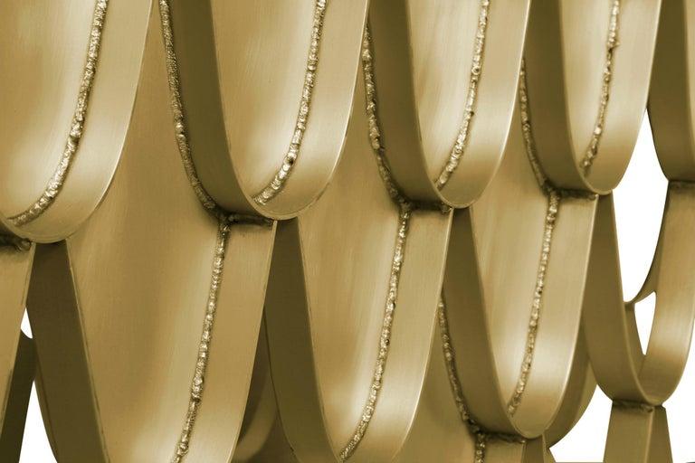 Contemporary Brabbu Koi Washbasin in Estremoz Marble Gray with Brass Base For Sale
