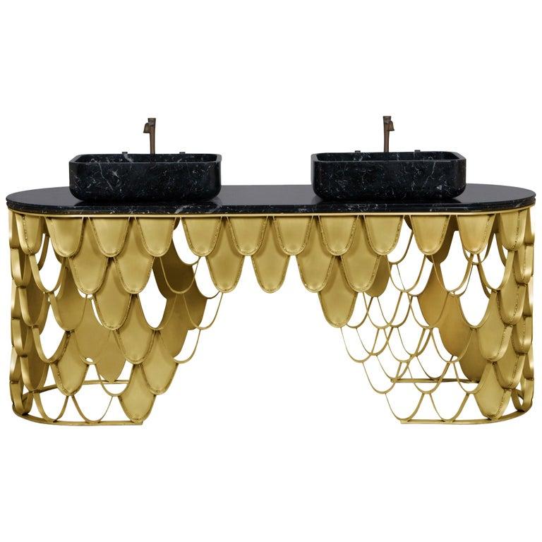 Brabbu Koi Washbasin in Estremoz Marble Gray with Brass Base For Sale