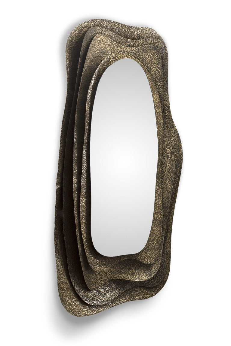 Portuguese Kumi I Rectangular Mirror in Hammered Aged Brass For Sale