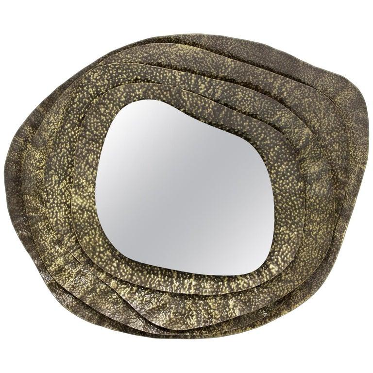 Kumi II Round Mirror in Hammered Aged Brass For Sale