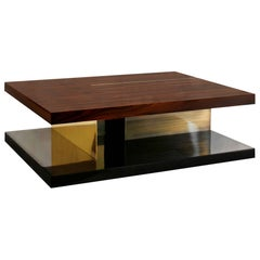 Lallan I Coffee Table with Palisander Wood Veneer and Brass Detail