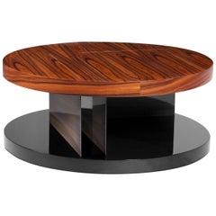 Lallan II Coffee Table with Palisander Wood Veneer and Brass Detail
