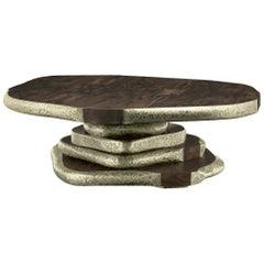 Latza Center Table in Wood & Brass