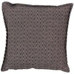 Brabbu Lotus Pillow in Black Twill with Zig-Zag Pattern
