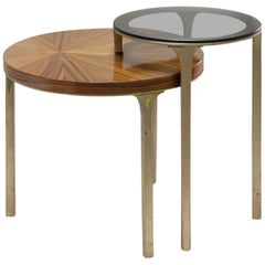 Brabbu Luray Stacked Side Table with Wood and Glass Tops
