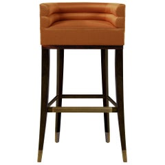 Brabbu Maa Counter Stool in Rust Orange Twill with Wood and Brass Detail