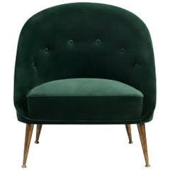 Malay Armchair in Cotton Velvet With Matte Aged Brass Base