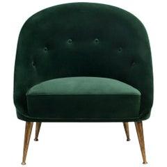 Brabbu Malay Armchair in Green Cotton Velvet