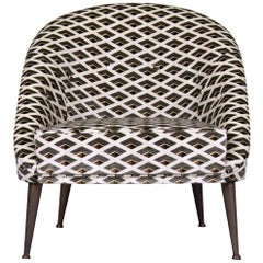 Brabbu Malay Rare III Armchair in Checkered Velvet with Brass Details