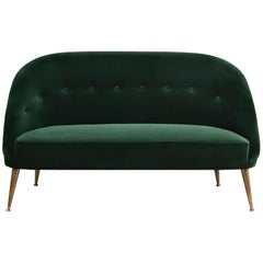 Malay Sofa in Cotton Velvet with Wood & Brass Legs