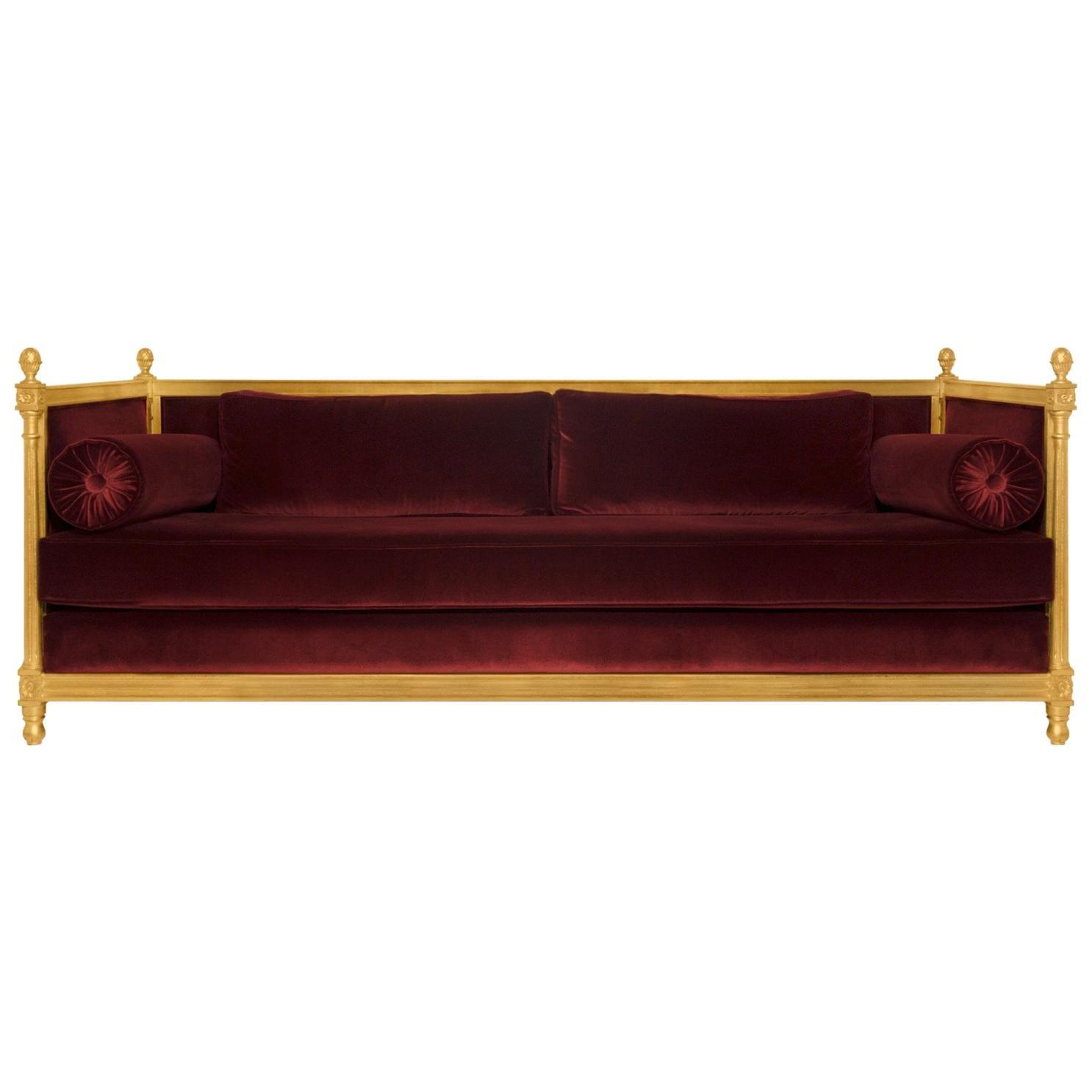 Malkiy Sofa in Cotton Velvet with Gold Details