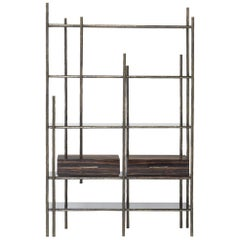 Mambu Bookcase in Brushed Brass with Smoked Glass Detail