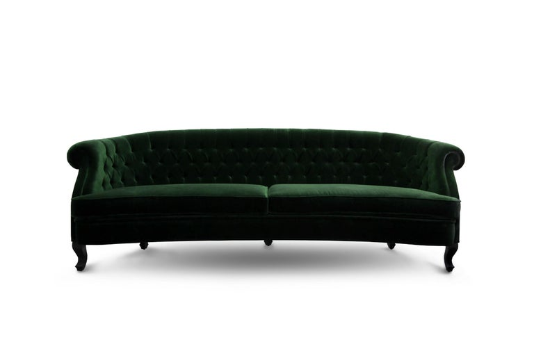 Portuguese Maree Sofa in Cotton Velvet With Matte Lacquered Base For Sale
