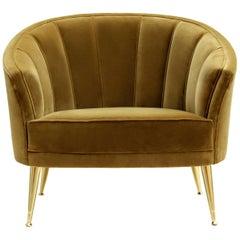Brabbu Maya Armchair in Gold Cotton Velvet with Brass Legs