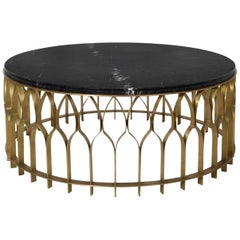 Mecca I Center Table with Black Marble Top and Brass Base