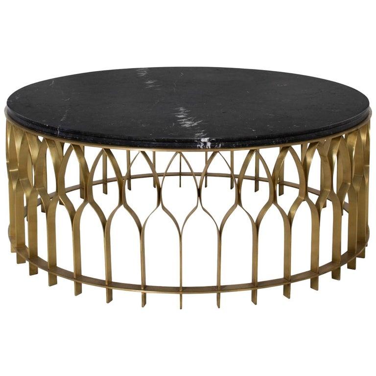 Black Coffee Table With Marble Top: Brabbu Mecca I Coffee Table With Black Marble Top And
