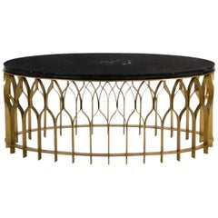 Mecca II Center Table with Black Marble Top and Brass Base