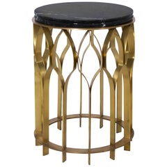 Brabbu Mecca Side Table with Black Marquina Top