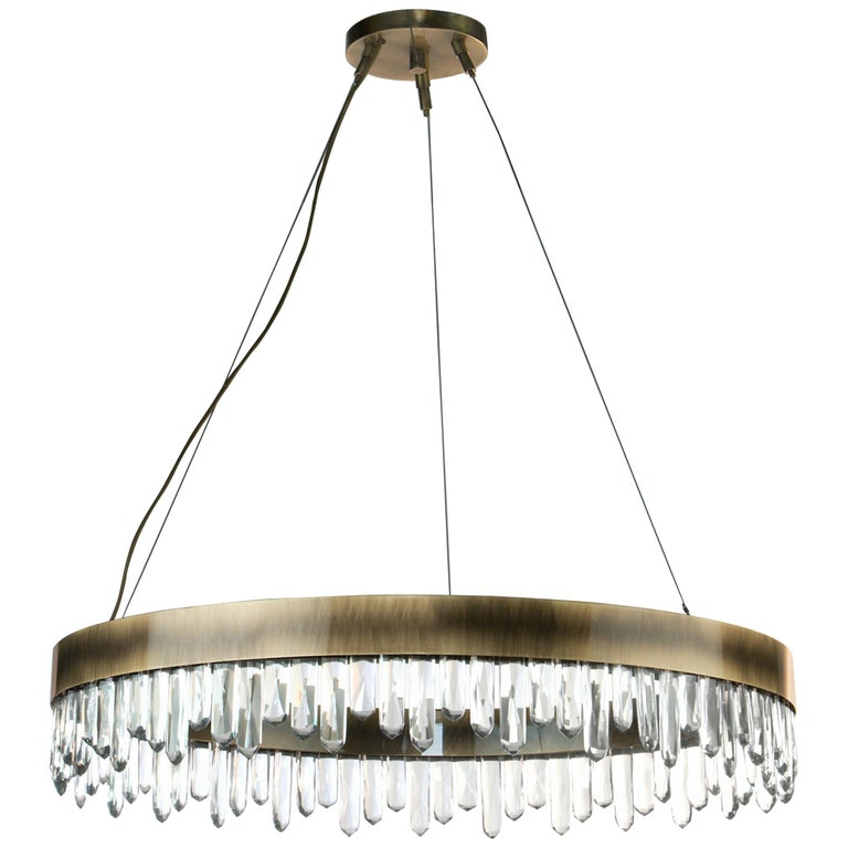 Brabbu Naicca Chandelier in Brushed Brass and Quartz For Sale