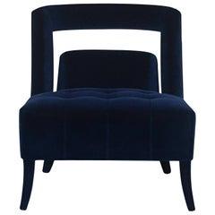Naj Armchair in Cotton Velvet and Fully Upholstered Legs