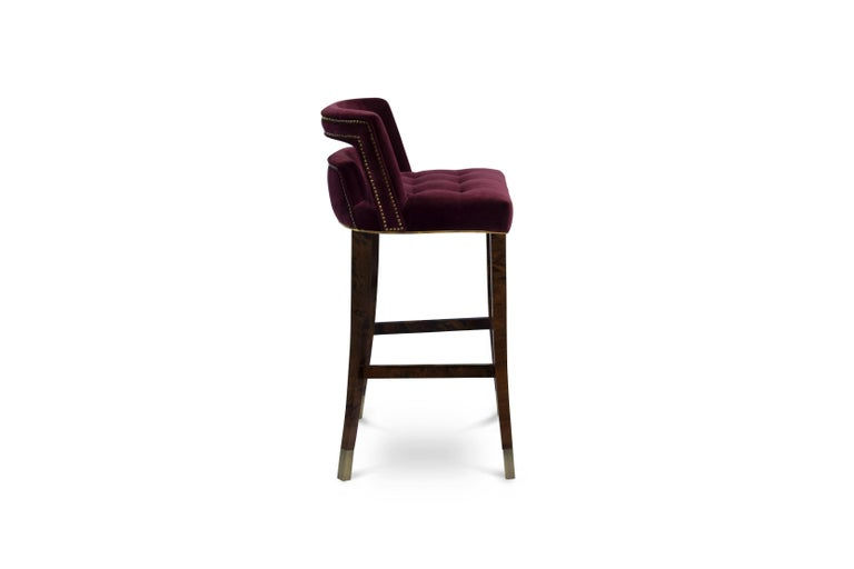 Mid-Century Modern Naj Bar Chair in Cotton Velvet with Wood and Brass Detail For Sale