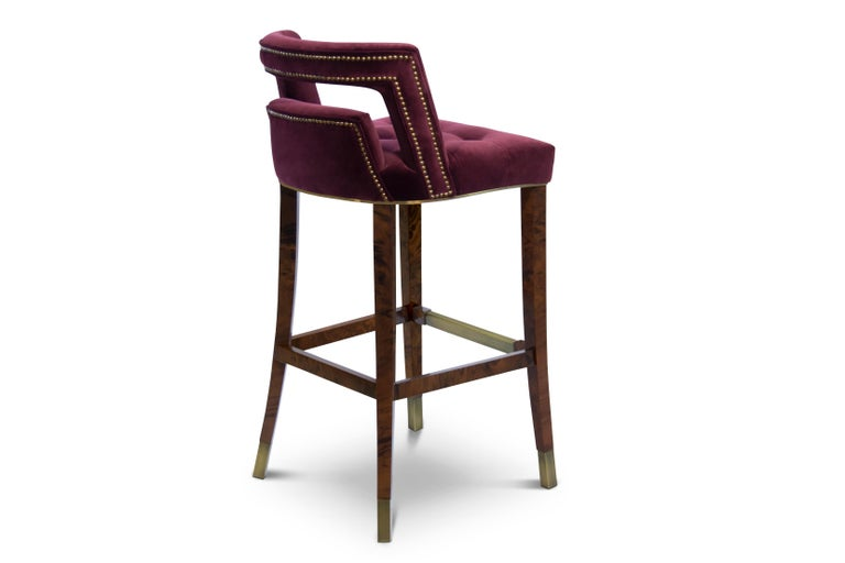 Portuguese Naj Bar Chair in Cotton Velvet with Wood and Brass Detail For Sale