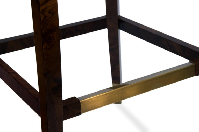 Contemporary Naj Bar Chair in Cotton Velvet with Wood and Brass Detail For Sale
