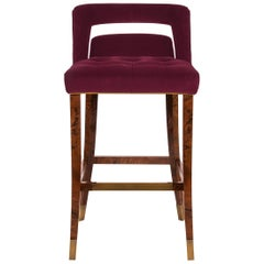 Brabbu Naj Bar Chair in Red Cotton Velvet with Wood and Brass Detail