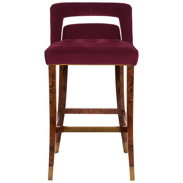 Naj Bar Chair in Cotton Velvet with Wood and Brass Detail For Sale