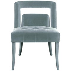 Naj Dining Chair in Cotton Velvet and Nickeled Nails