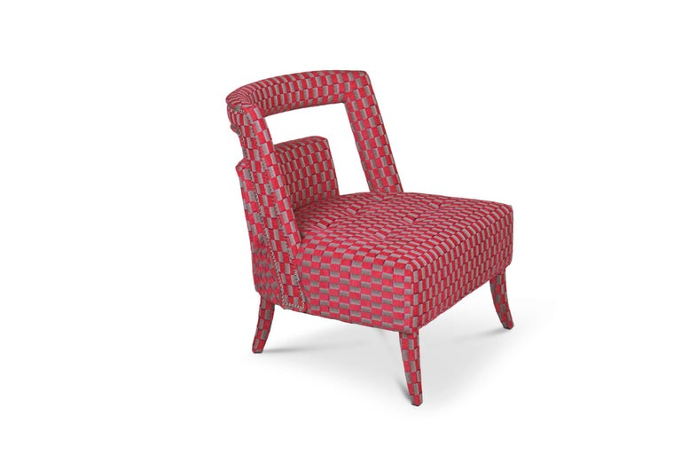 Guatemala was the stage of one of the most important discoveries in the 20th century - the Naj Tunich. Inspired by it is NAJ accent chair, a living room chair fully upholstered in velvet with nickeled nails. This fabric chair is sure to make a