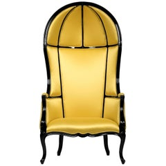 Namib Armchair in Satin with Black Lacquer Frame