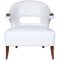 Nanook Armchair in Faux Leather with Wood Detail