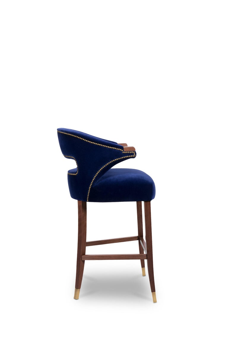 Mid-Century Modern Nanook Bar Chair in Cotton Velvet with Wood and Brass Detail For Sale