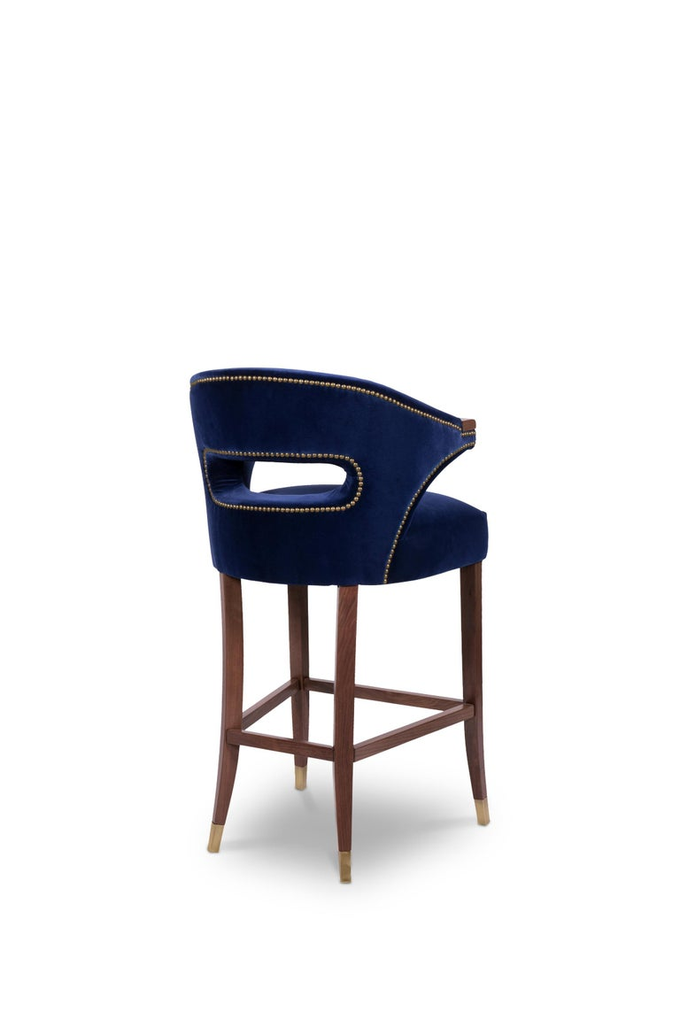 Portuguese Nanook Bar Chair in Cotton Velvet with Wood and Brass Detail For Sale